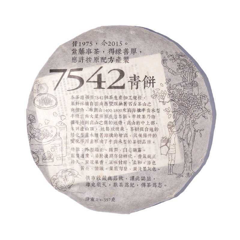 Raw Puer Tea | Purple Cane 7542 Year 2015